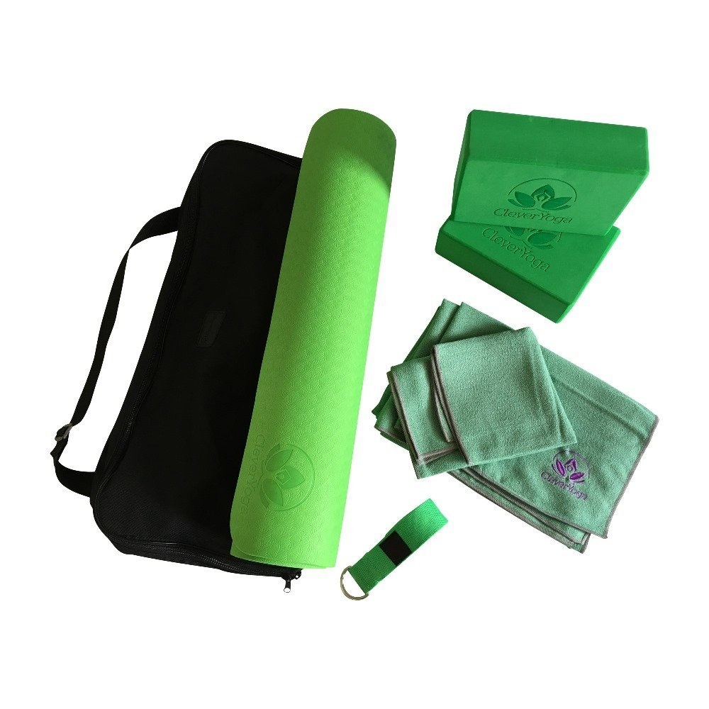 clever yoga 7-piece green yoga starter set