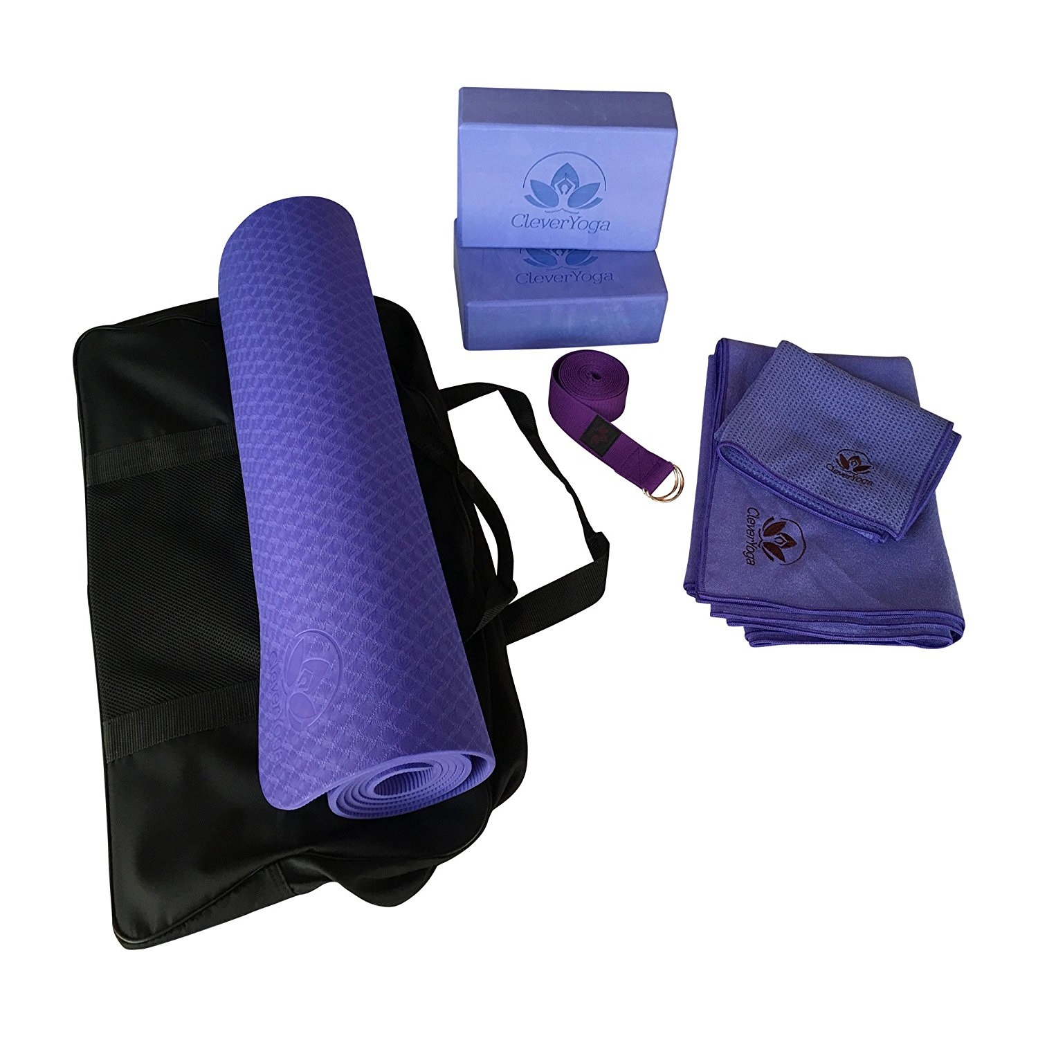 clever yoga 7-piece purple yoga starter set