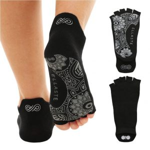 ellaste womens non slip grippy black yoga socks