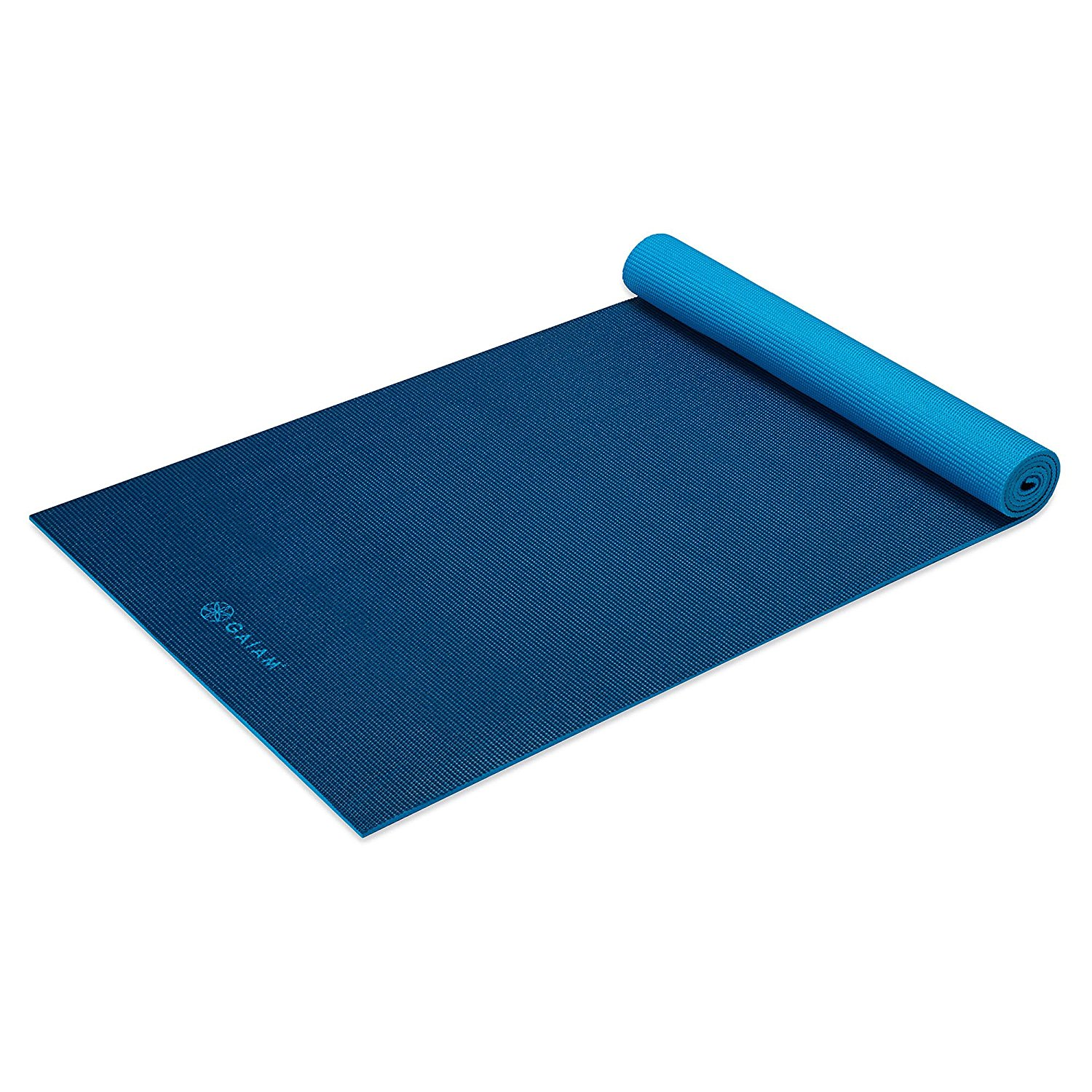 gaiam solid non-slip yoga mat, navy/blue,5mm