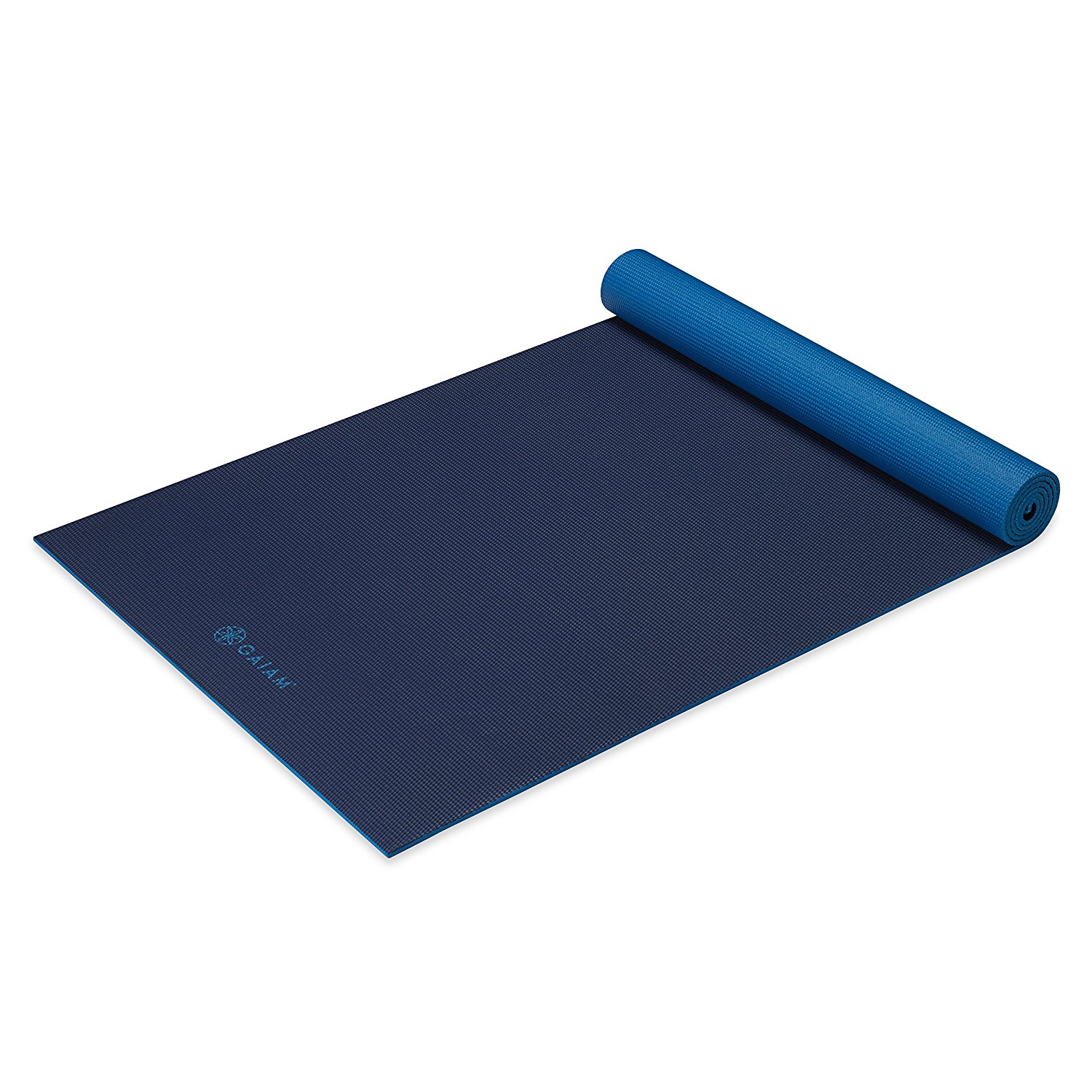 gaiam solid non-slip yoga mat, navy/blue,6mm