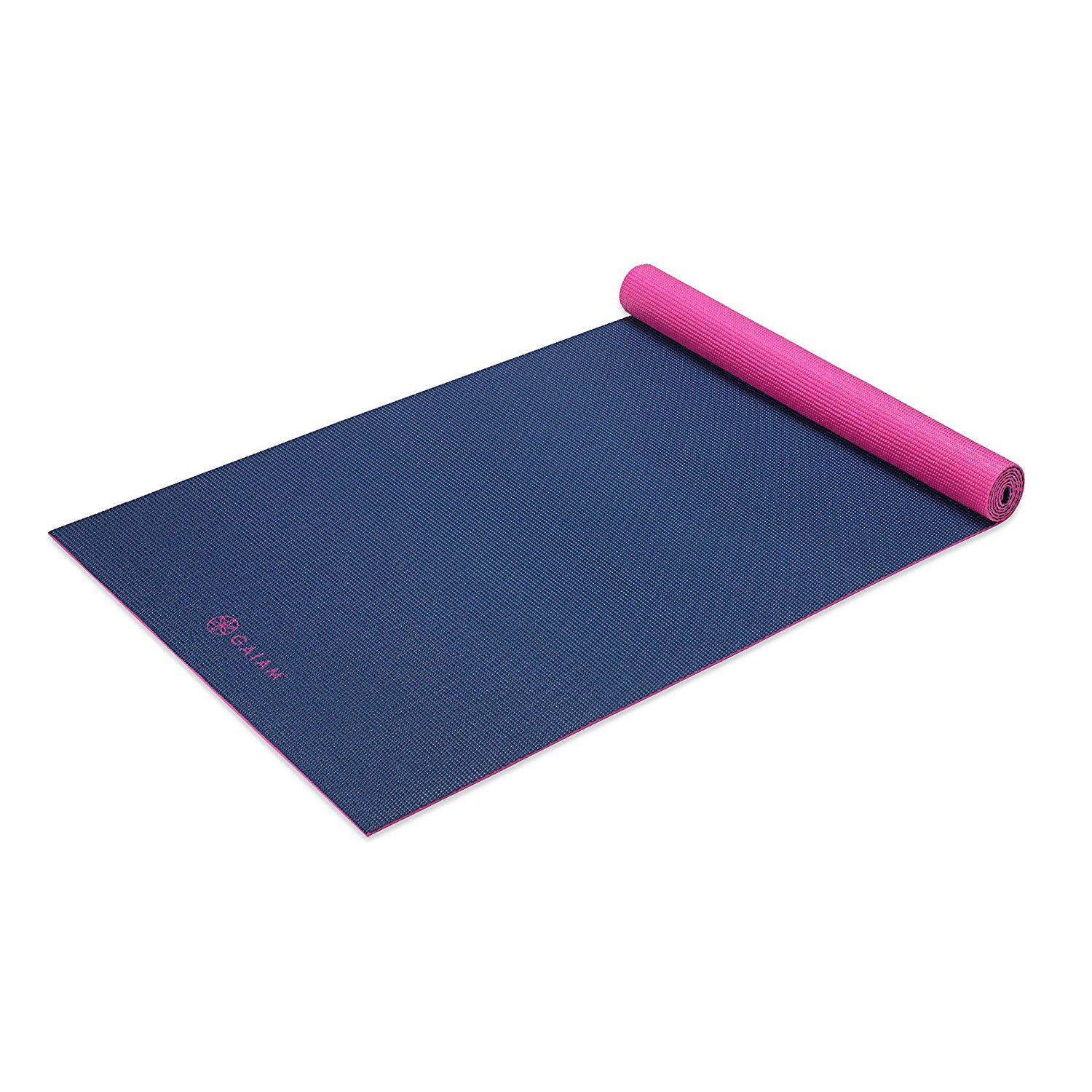 gaiam solid non-slip navy/pink yoga mat