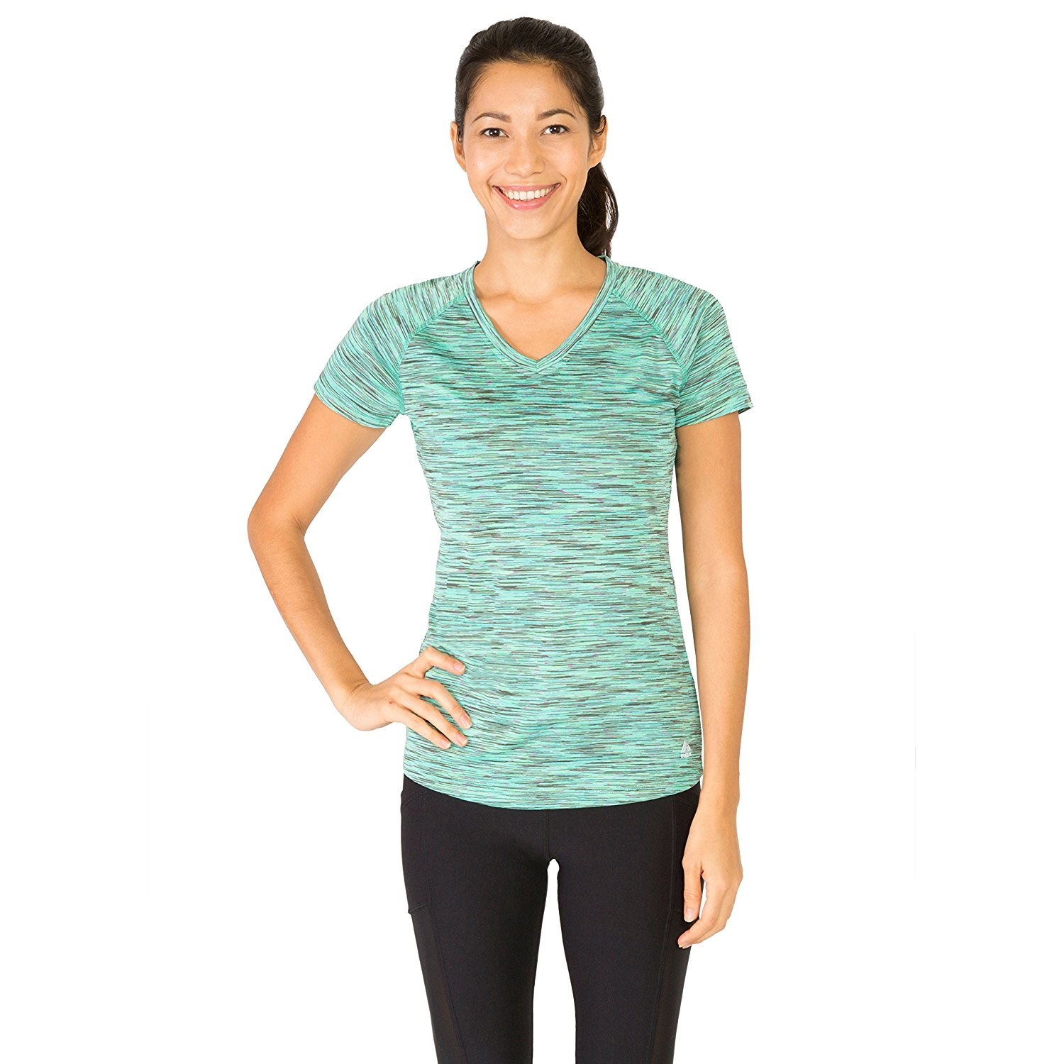 rbx womens space dye short sleeve v-neck aqua green space yoga tee shirt