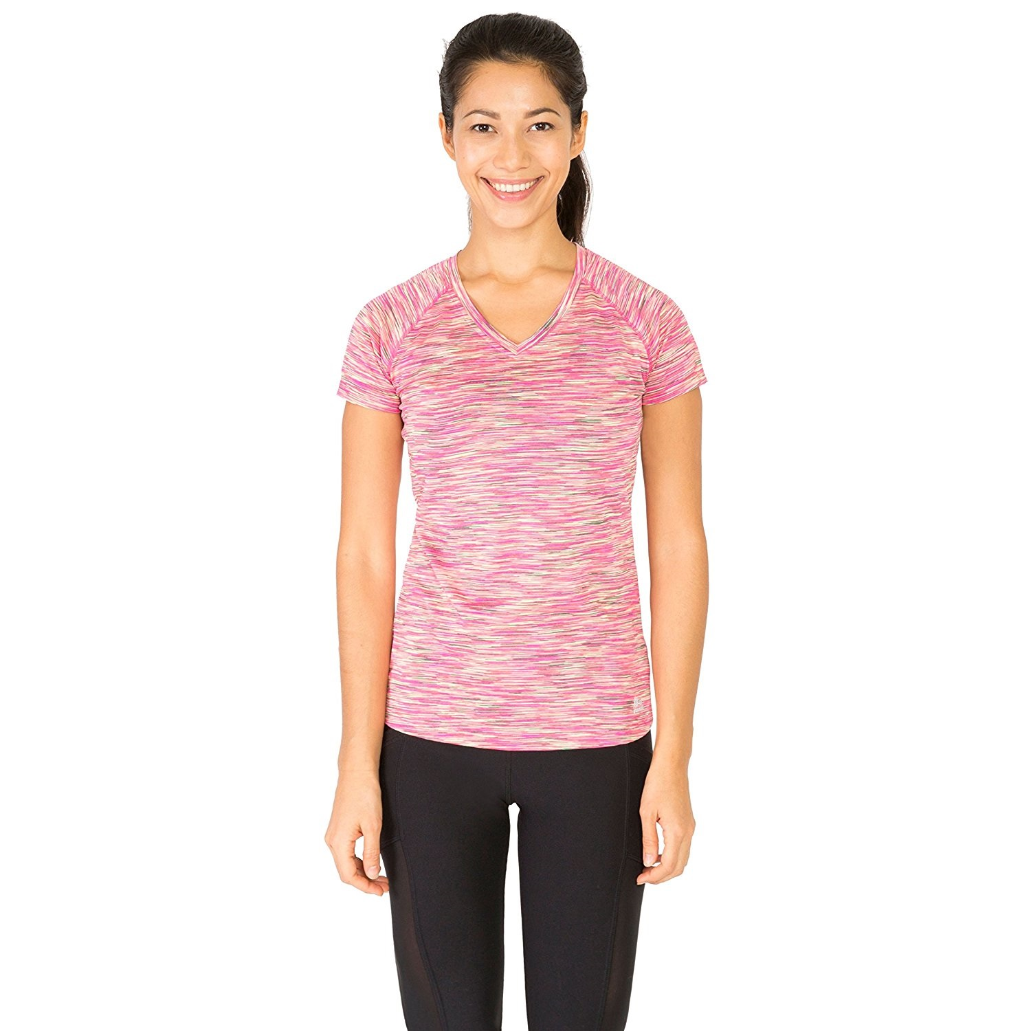 rbx womens space dye short sleeve v-neck pink grapefruit combo yoga tee shirt