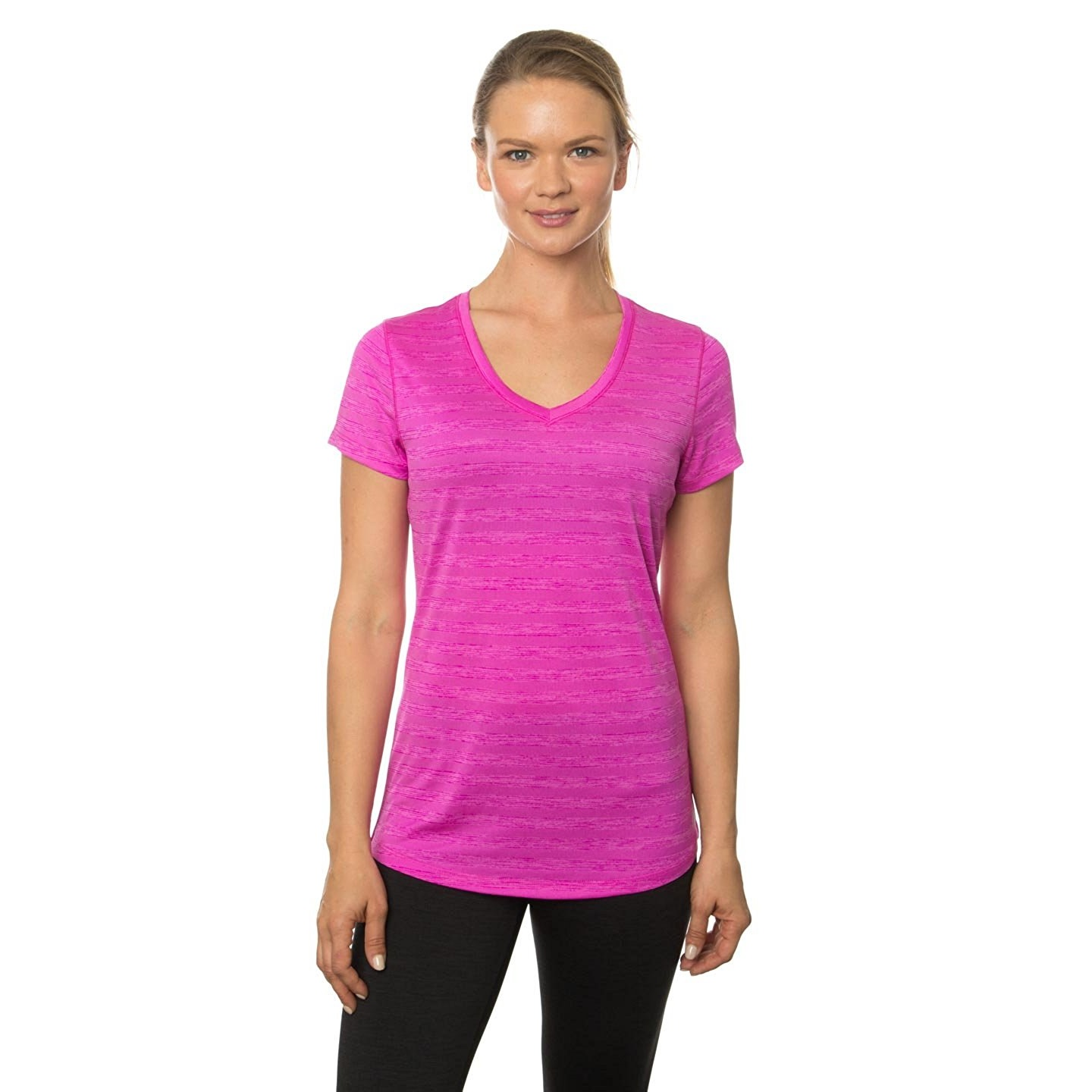rbx womens space dye short sleeve v-neck twightlight magenta combo yoga tee shirt