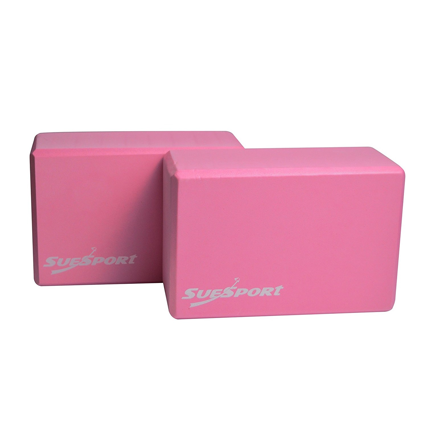 suesport pink high density foam yoga blocks
