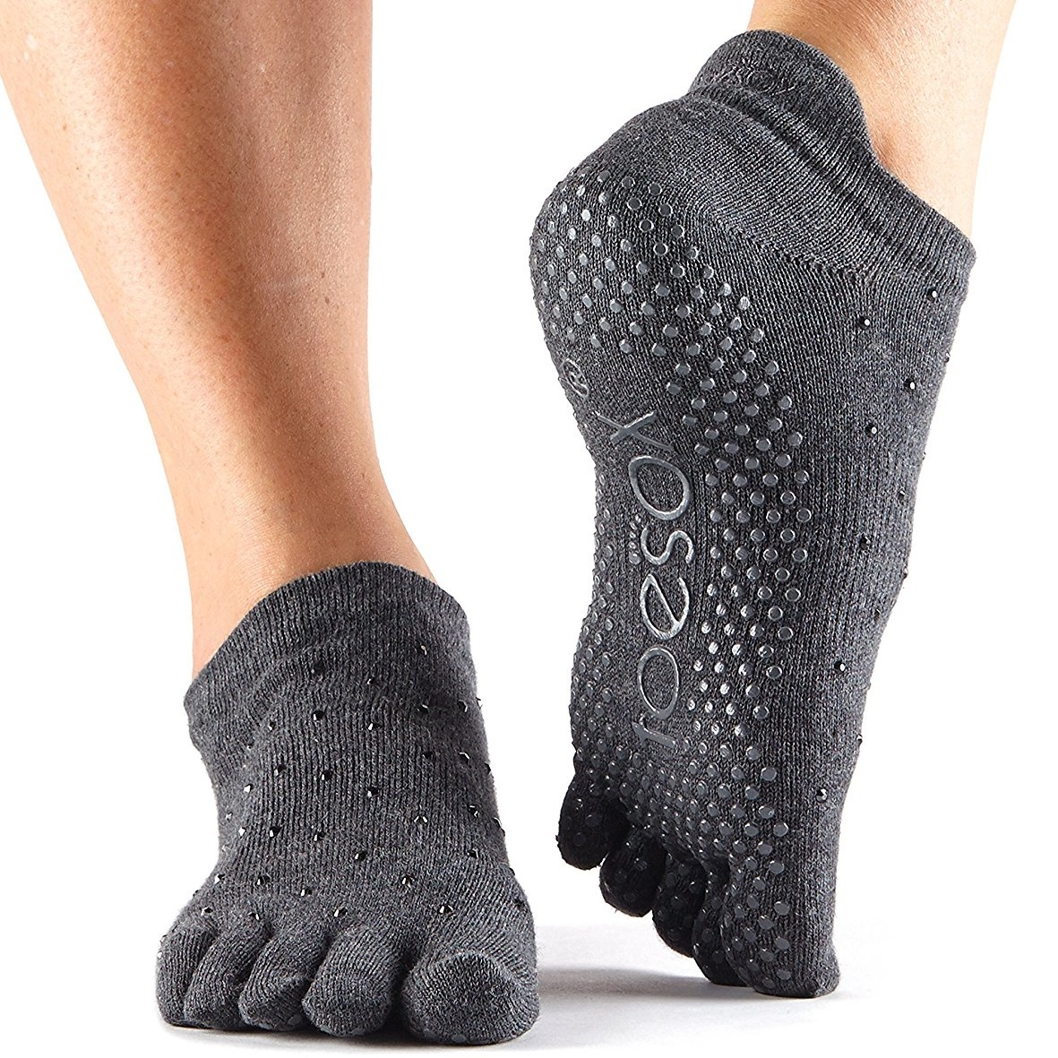 toesox womens grip full toe low rise sultry yoga socks
