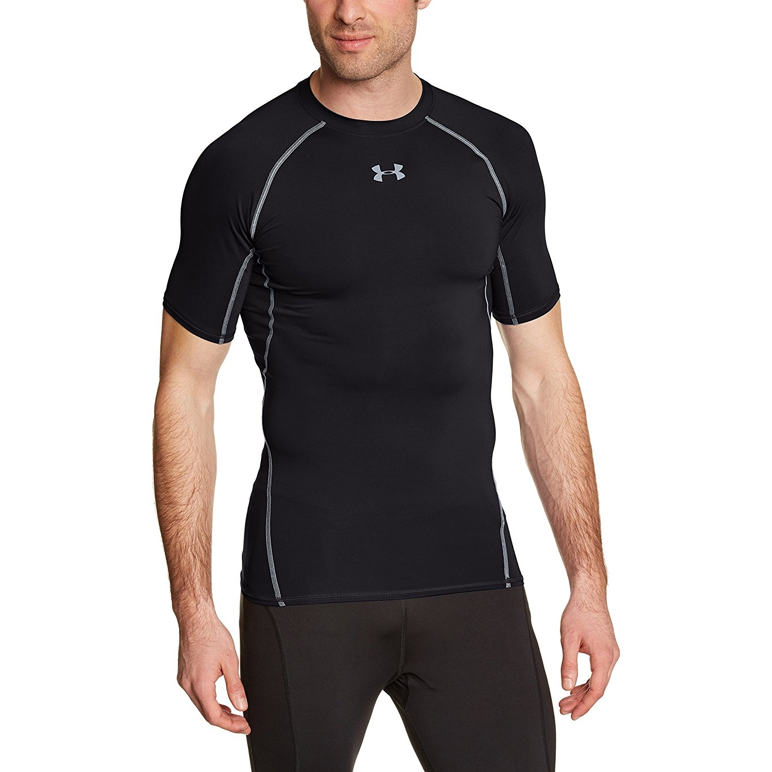 under armour mens heatgear short sleeve compression black yoga shirt