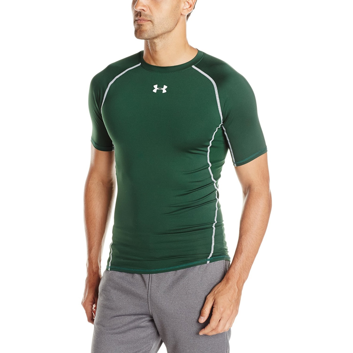 7a98ba562 under armour mens heatgear short sleeve compression forest green/white yoga  shirt