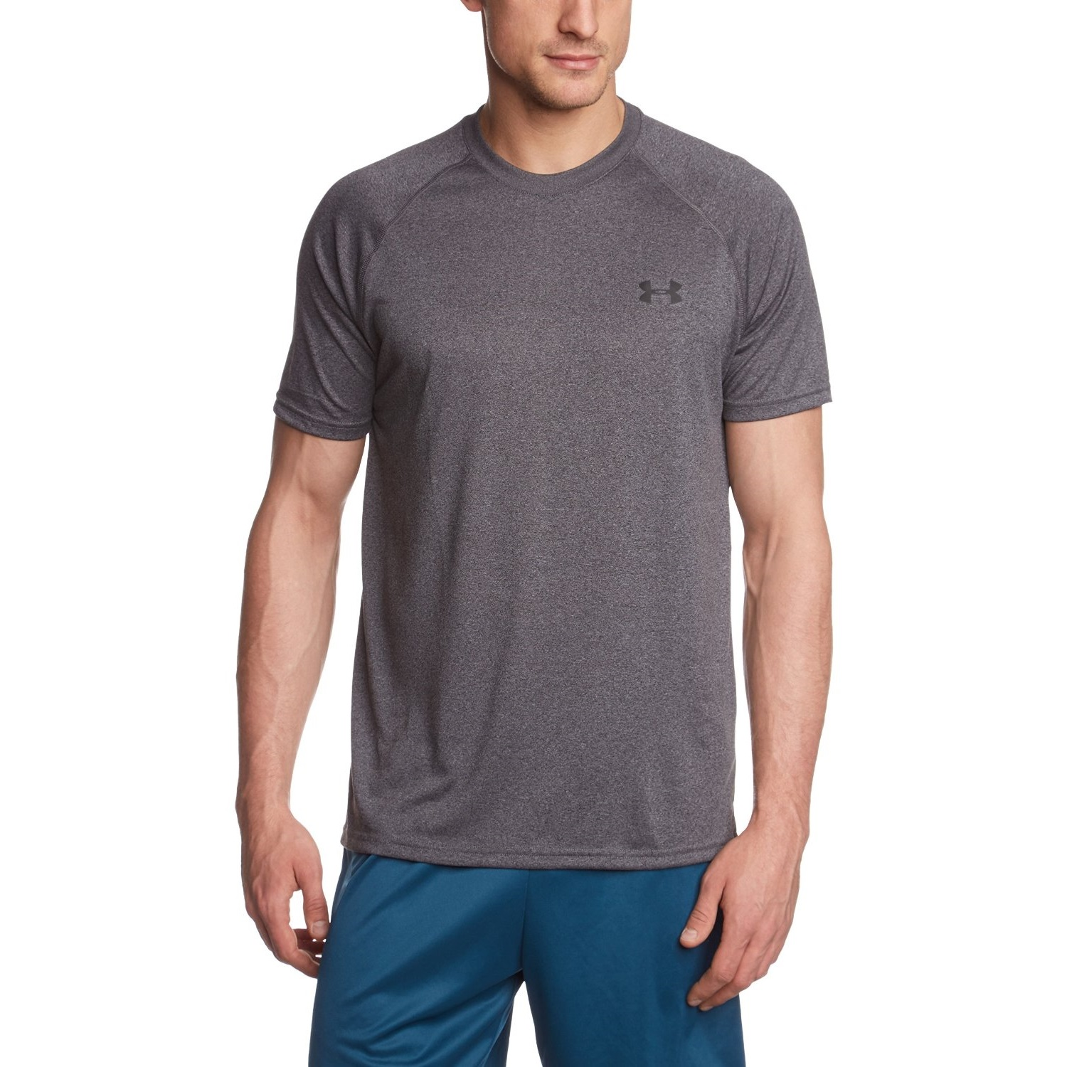 under armour mens tech short sleeve carbon heather black yoga t-shirt 5e83e4b2a