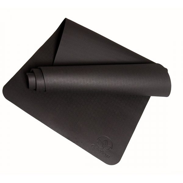 "clever yoga premium bettergrip tpe 1/4"" thick black yoga mat"