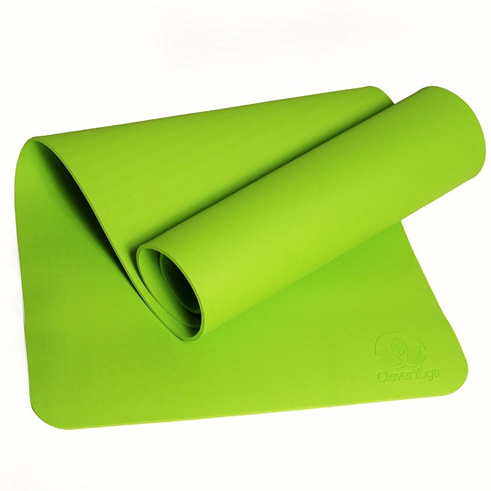 "clever yoga premium bettergrip tpe 1/4"" thick green yoga mat"