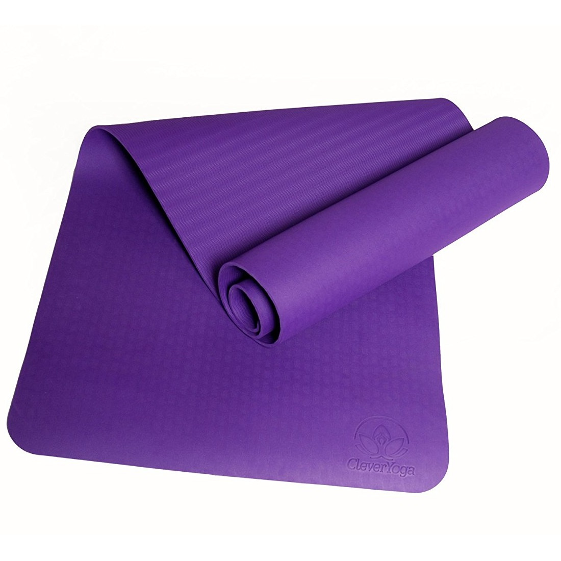 "clever yoga premium bettergrip tpe 1/4"" thick purple yoga mat"