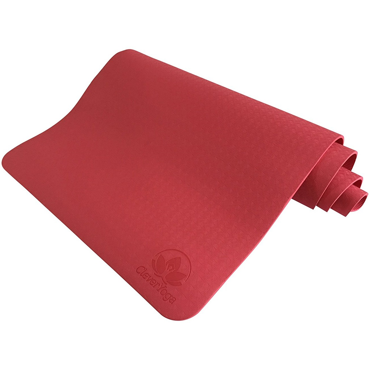 "clever yoga premium bettergrip tpe 1/4"" thick rose red yoga mat"