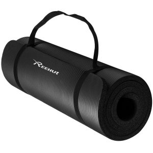 reehut extra thick high density black yoga mat