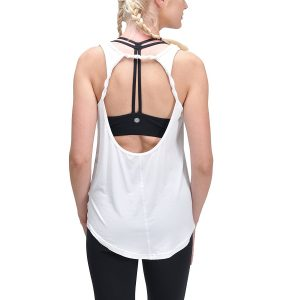 queenie ke womens angle white cowl back yoga shirt