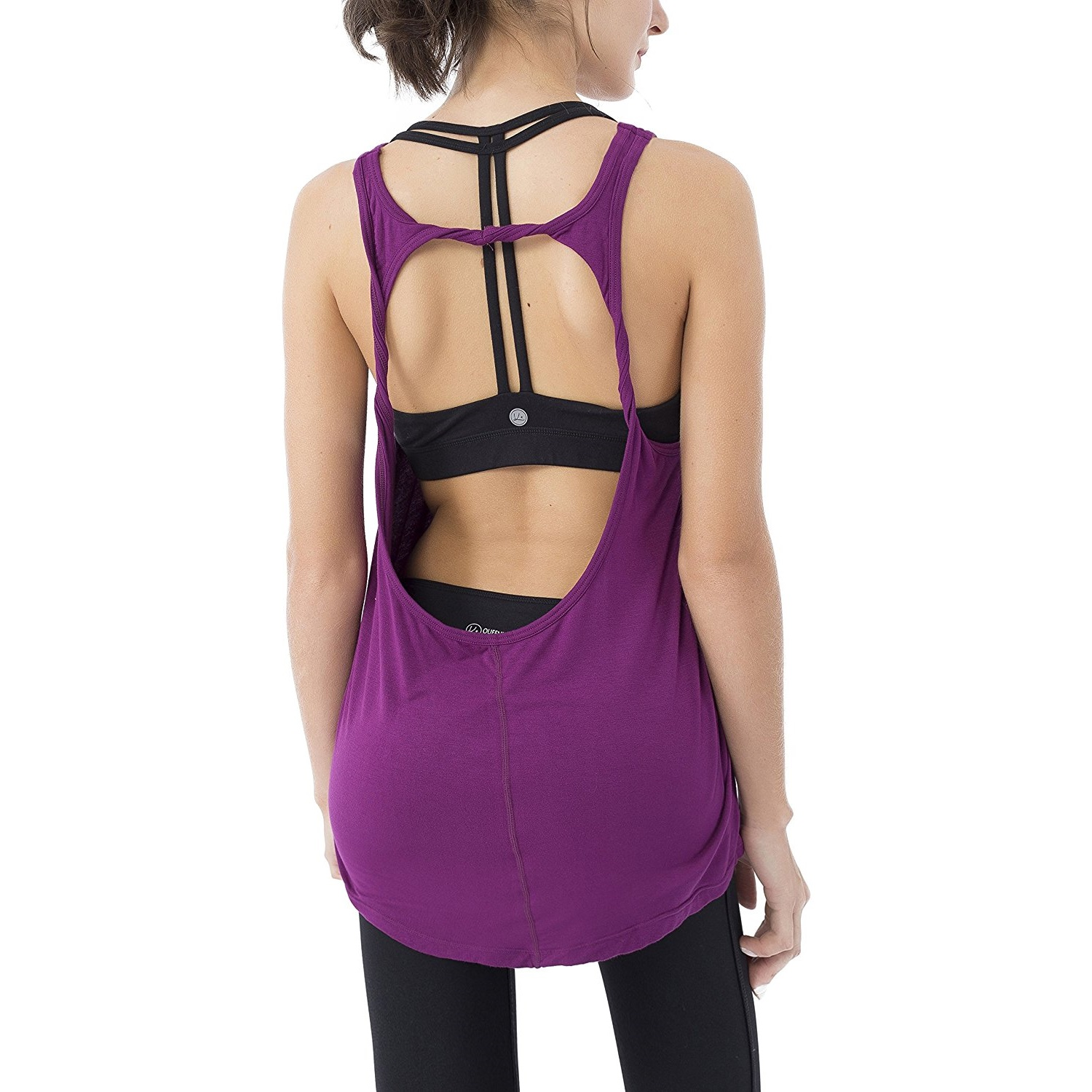 queenie ke womens dark magenta cowl back yoga shirt