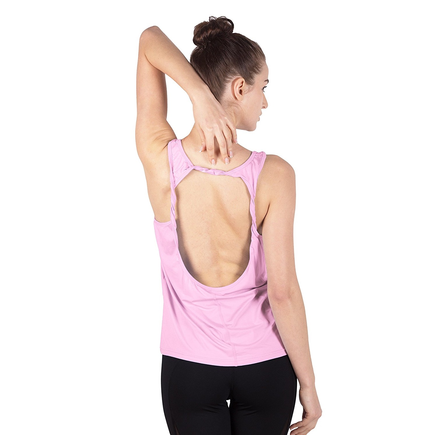 queenie ke womens light pink cowl back yoga shirt