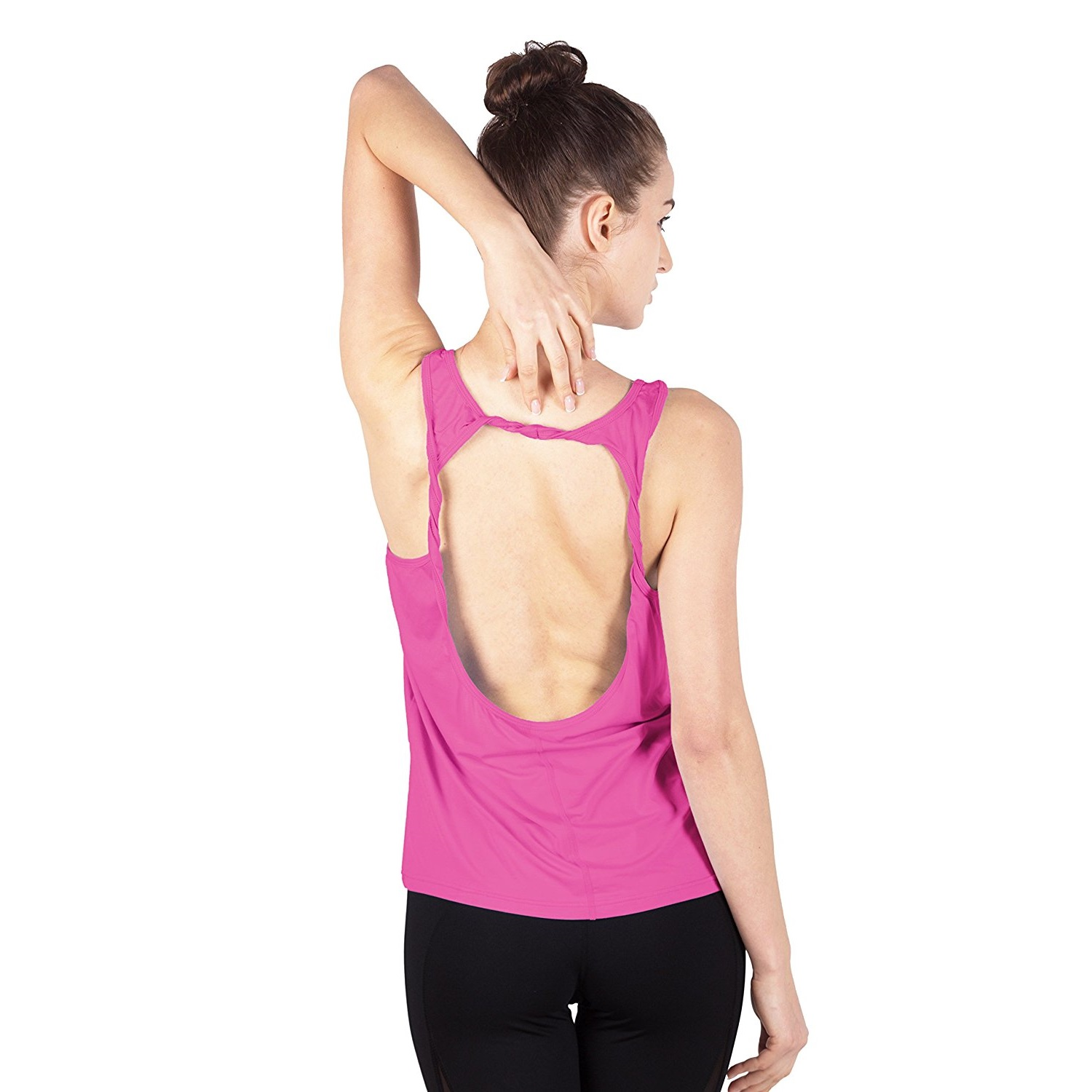 queenie ke womens rose red cowl back yoga shirt