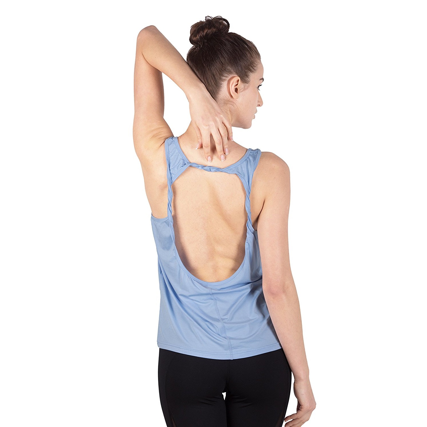 queenie ke womens sky blue cowl back yoga shirt