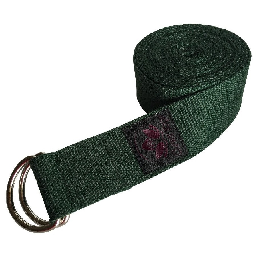 clever yoga green cotton yoga strap