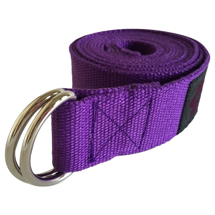 clever yoga purple cotton yoga strap