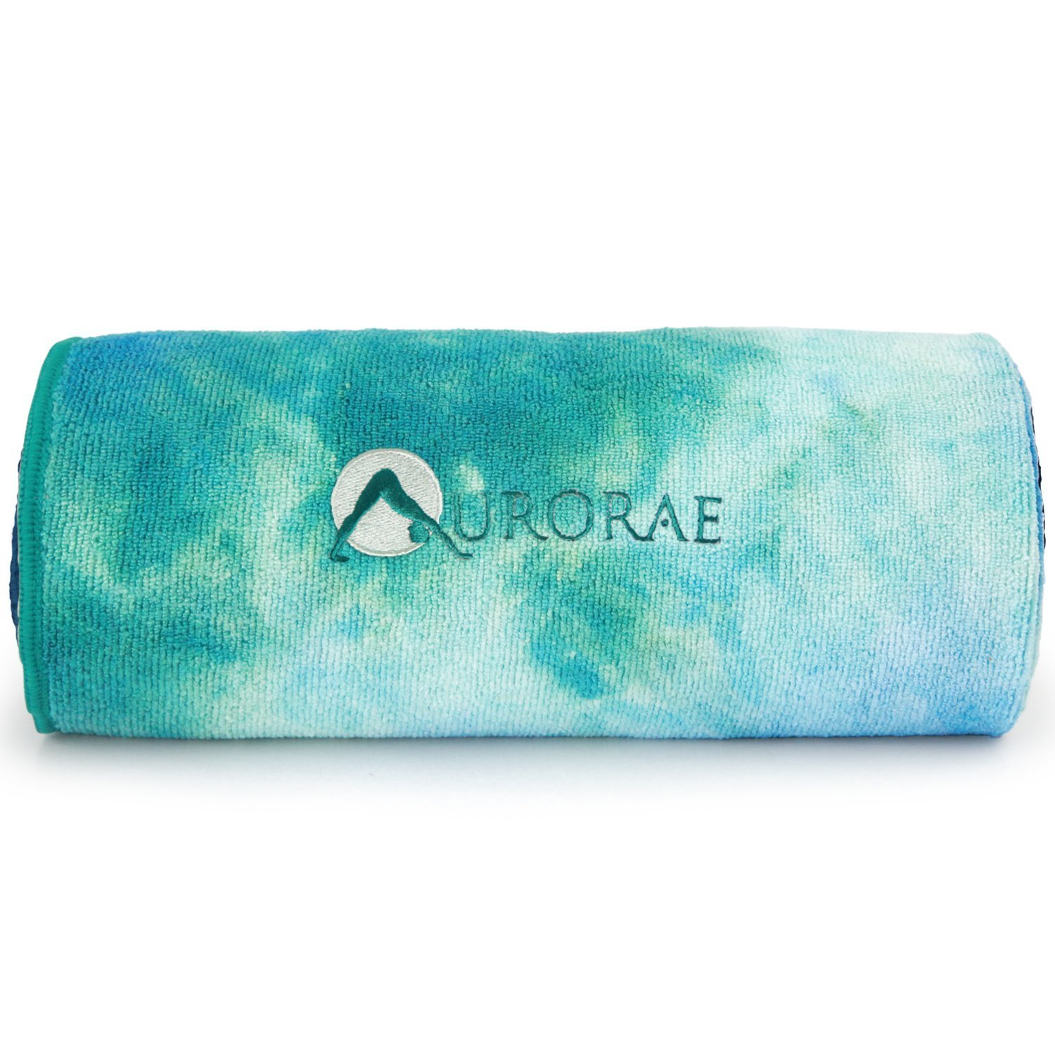 aurorae yoga mat towel in a aqua tie dye design