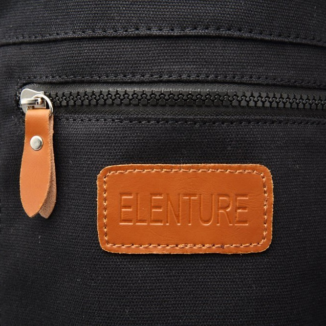 logo of the elenture black yoga mat bag