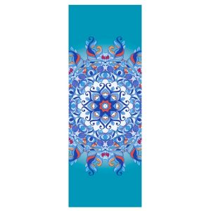 heathyoga yoga towel in an aqua mandala design