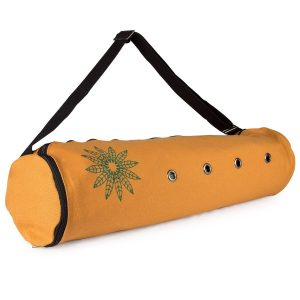 peace yoga air vent yoga mat bag brown leaves