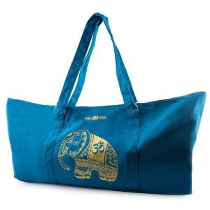 peace yoga adjustable yoga mat tote bag elephant-blue