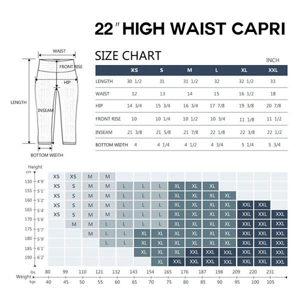 bubblelime womens high waist yoga pants size chart