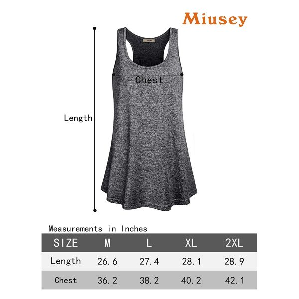 miusey tank top yoga shirt size chart for women