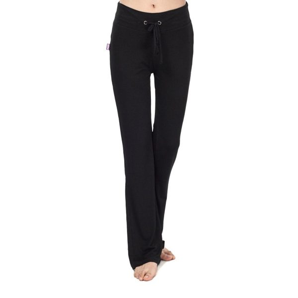 black nb womens modal drawstring long yoga pants