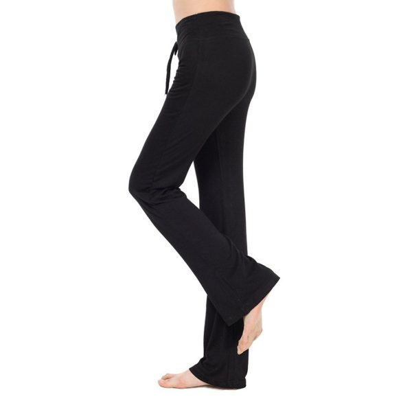 nb womens modal black drawstring long yoga pants