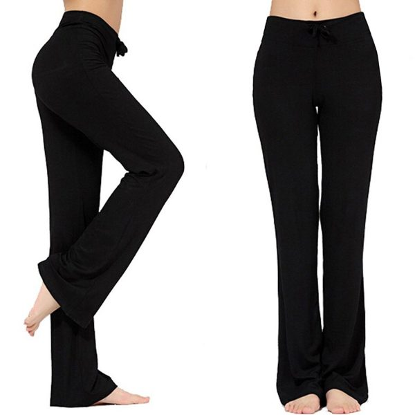 nb womens modal drawstring long yoga pants black