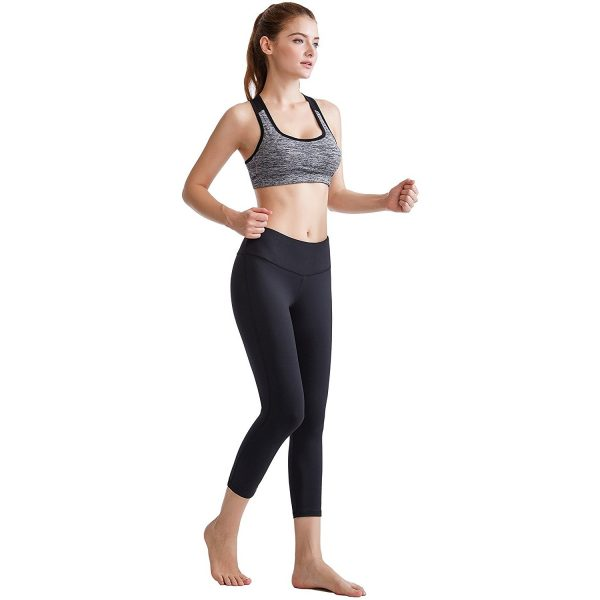 oalka power flex womens black yoga capri pants