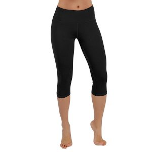 ododos power flex womens 4-way stretch yoga capri pants black