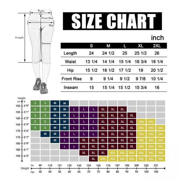 dodos power flex womens printed yoga pants size chart