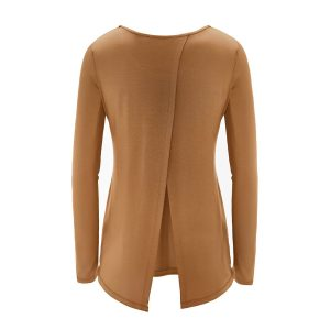 regna x womens open-back yoga shirt in 17303_camel color