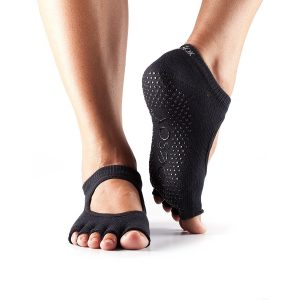 toesox womens bella half toe non-slip yoga socks in a black color