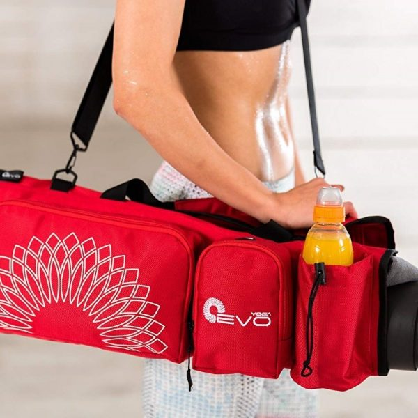 the yoga evo open end yoga mat bag fits your drink bottle and more