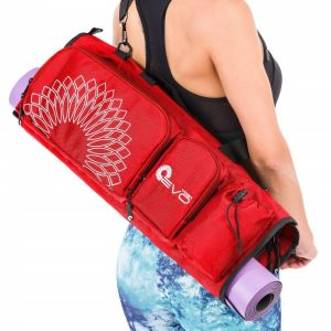 a red yoga evo open end yoga mat bag