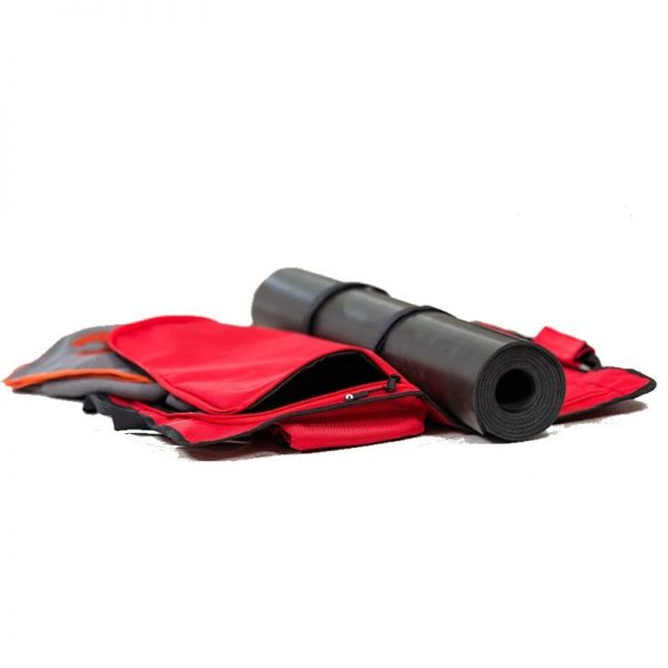 view of an opened yoga evo open end yoga mat bag