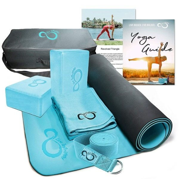 live infinitely 6 piece teal yoga starter set