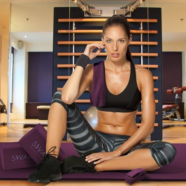 sivan health and fitness 6-piece purple yoga starter set